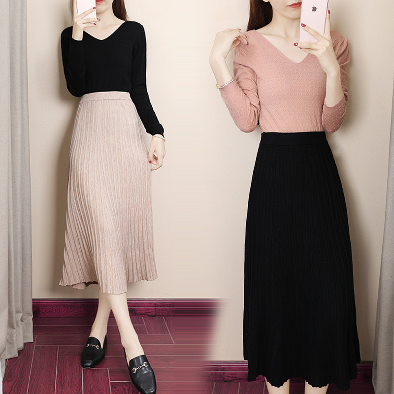 Korean-style Online Celebrity Two-Piece Set Western Style Scheming Goddess 2019 New Style Sweater Collocation Skirt Two-Piece Se