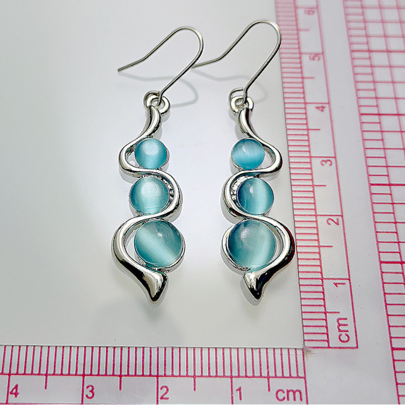 Fashion Beaded Earrings Resin Stone Blue Moonstone Dangle Long Jewelry Charm Silver Color Twist Hook Earring For Women O5D408