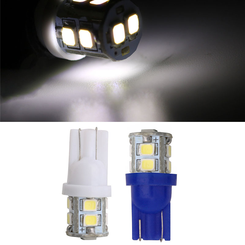 T10 W5W LED Bulbs 10SMD 194 168 LED White Light Wedge for Parking Light Reserve Light Side Light Replacement Bulbs Interior Lamps Pack of 2