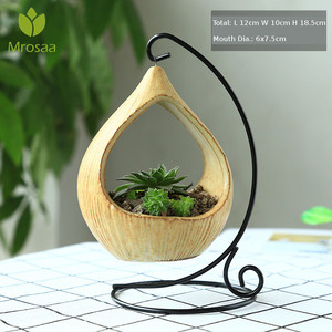Nordic Ceramic Pot Plant Holder Table Desktop Geometry Bonsai Flower Pot Hanging Pots with Iron Tray Hook Home Decor Ornament|Flower Pots & Planters|Home & Garden -