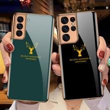 Funda de vidrio templado con estampado de ciervo para Samsung Galaxy S21 Ultra 5G, carcasa trasera dura con marco suave chapado de lujo para S21 Plus