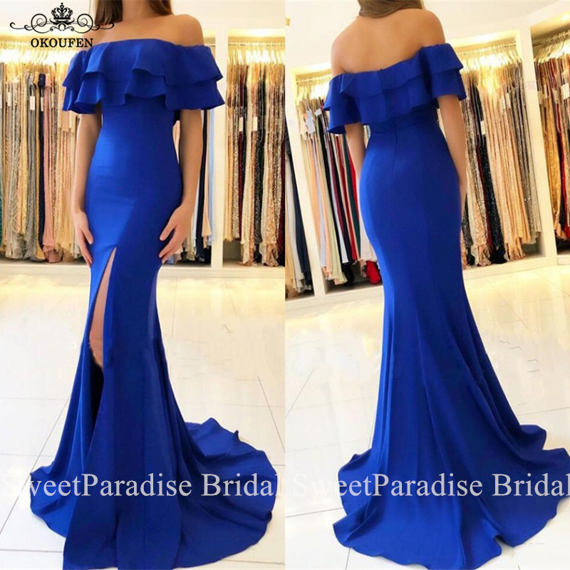 Ruffles Off Shoulder Bridesmaid Dresses In Royal Blue Side Split Mermaid Long Vestido Madrinha Wedding Guest Dress Maid Of Honor