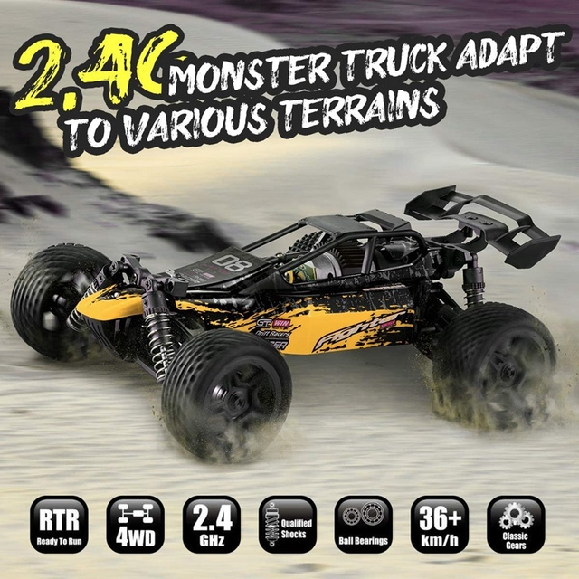 1:16 Radio RC Car High Speed RC Cars 4WD 36KM/H Off Road Buggy Truck Electric Drift Toy Trucks Yellow 6
