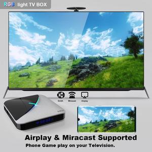 Image 3 - A95XF3 4GB 64GB 32GB RGB אור חכם טלוויזיה תיבת 2G 16G אנדרואיד 9.0 A95X F3 אוויר Amlogic S905X3 Wifi אלחוטי HD Ott מדיה נגן
