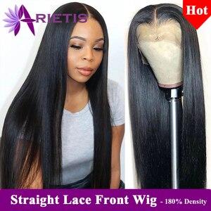 180% Плотность 13x4 человеческие волосы на фронте, бразильские прямые парики из человеческих волос, 360 кружева спереди, предварительно отобранн...