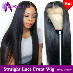 Pelucas de cabello humano 180% de densidad 13x4, pelucas de cabello humano liso brasileño, peluca Frontal de encaje 360 prearrancada con cabello de bebé