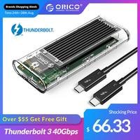 ORICO Thunderbolt 3 40Gbps M.2 NVME SSD carcasa 2TB USB transparente C SSD caso con 40Gbps C a C Cable para Mac  Windows