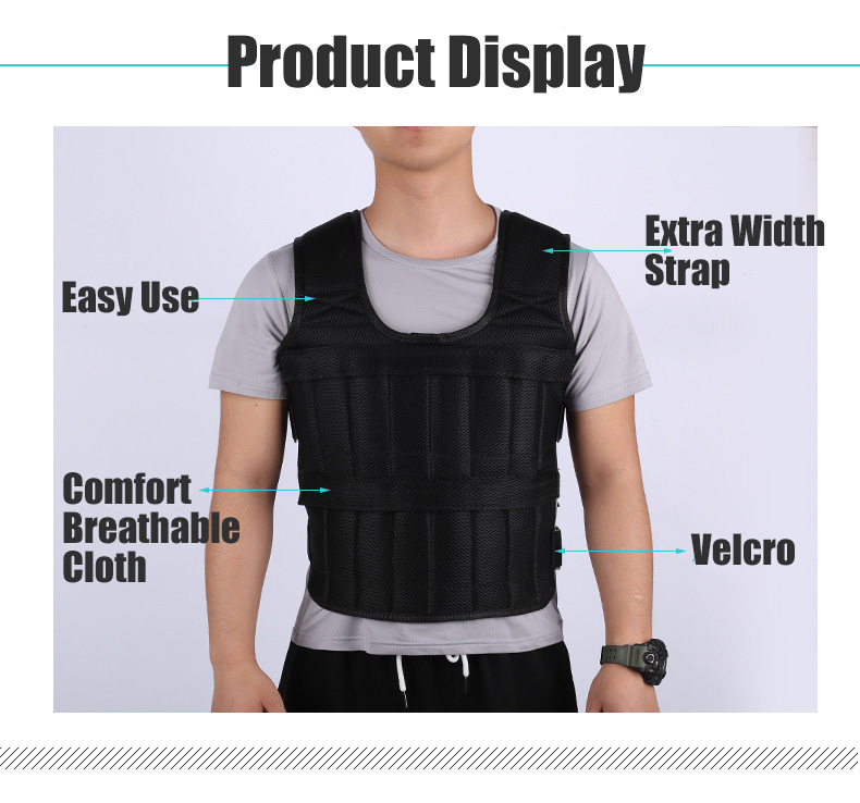 30KG Loading Weight Vest For Boxing Weight Training Workout Fitness Gym Equipment Adjustable Waistcoat Jacket Sand Clothing 3