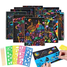 Paper-Cards-Set Rainbow Scratch-Art with Graffiti-Stencil for Scraping Drawing-Toys Magic