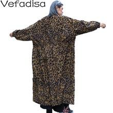 Vefadisa Autumn Winter Leopard Print Trench Coat Stand Collar Loose Coat Zipper