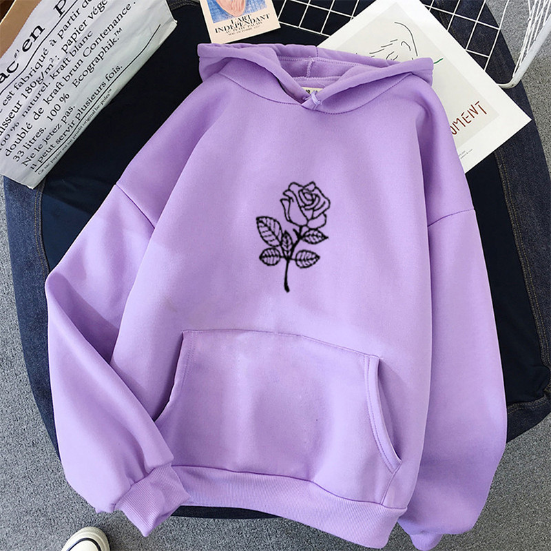 Full Sleeve streetwear Winter oversized flower Print Sweatshirt Kawaii Hoodies for Women tops plus size clothes Hoodies 1