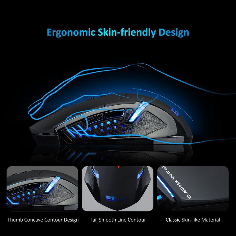 VicTsing Wireless Gaming Mouse 2400 DPI Ergonomic Grips 7 Buttons Breathing Backlit Unique Silent Click Wireless Mouse Gaming    (6)