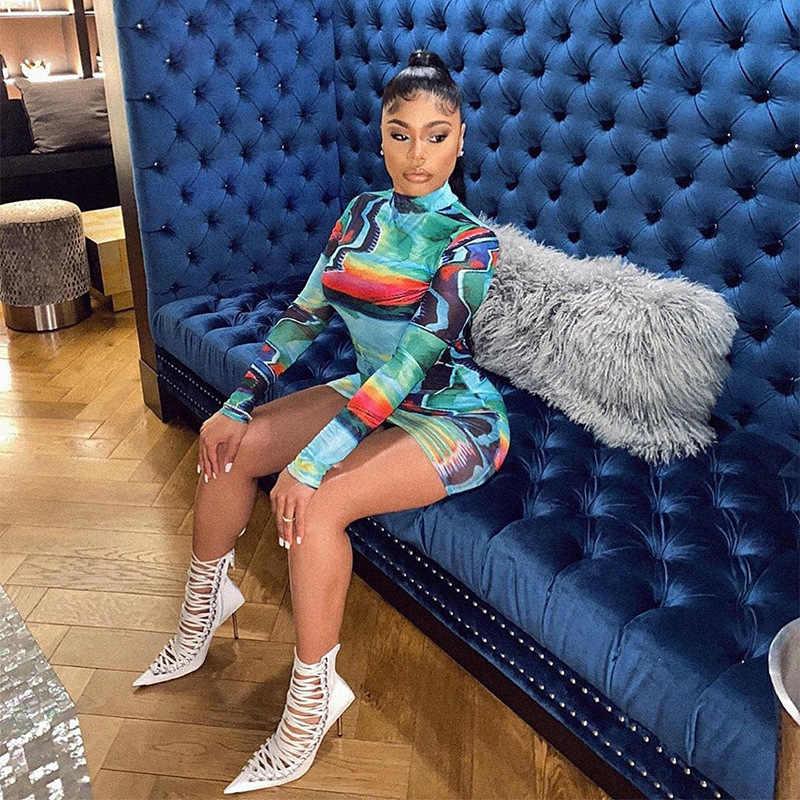 ANJAMANOR Biru Dicat Graffiti Turtleneck Lengan Panjang Gaun untuk Wanita Clubwear Musim Gugur 2020 Seksi Bodycon Gaun Mini D91-BG23