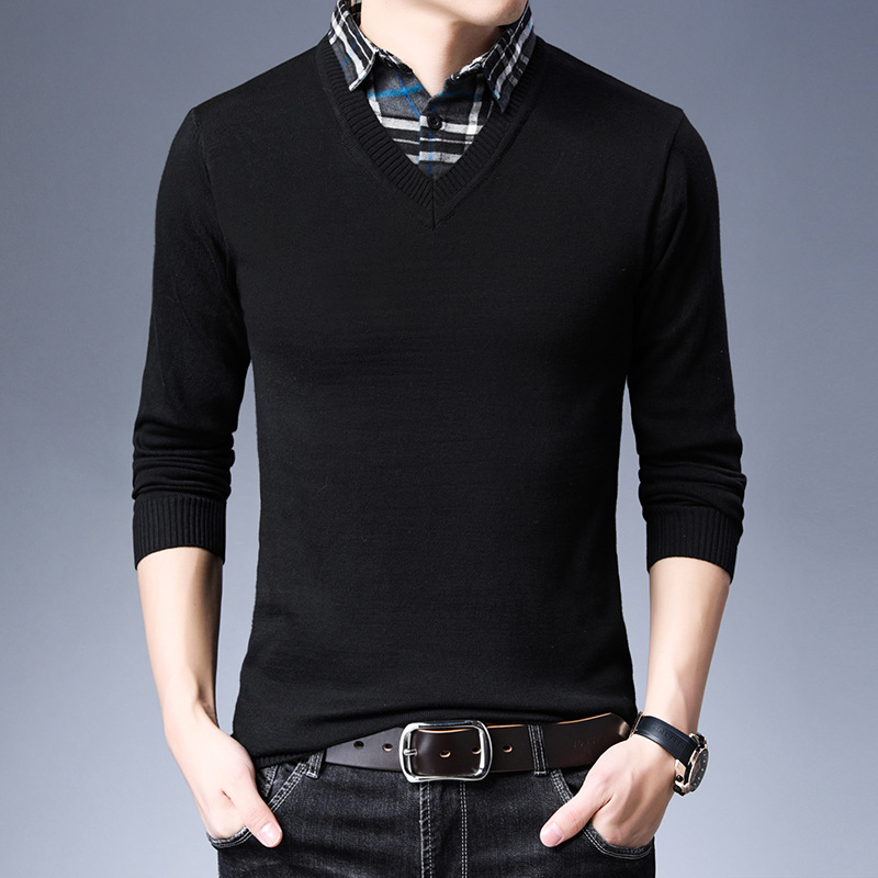 New Arrival Sweater Men Brand Slim Fit Solid V-Neck Pullovers Long Sleeve Knitwear Fashion Male Knitted Classic Mens Sweaters