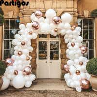 Kit de arco de Globos de niña para Decoración de cumpleaños, guirnalda blanca y Globo de oro rosa, Globos Pastel, Baby Shower, bautismo, 106 Uds.