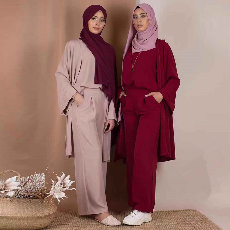 Three-piece Abaya Turkish Kimono Tops Pants Muslim Dress Abayas Hijab Robe Dubai Caftan Kaftan Islam Clothing For Women Djellaba