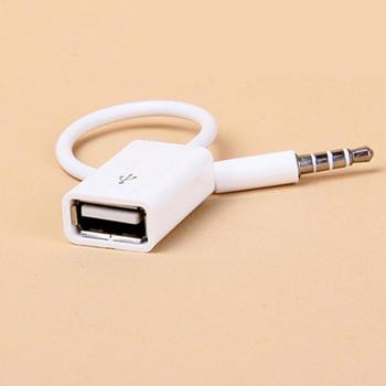 Car SUV MP3 3.5mm Male AUX Audio Plug Jack To USB 2.0 Female Converter Cable image