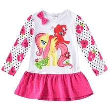 Little pony girl long-sleeved dress cotton print cartoon autumn new for girls wearing long sleeves