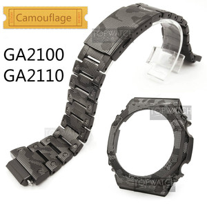 Камуфляж для металла GA2100 Безель набор настроить нержавеющая сталь ремешок для часов GA2110 часы ремешок стальной ремень GA-2100 инструменты