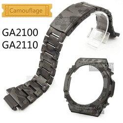 Camouflage For Metal GA2100 Bezel Set Customize Stainless Steel Watchband GA2110 Watch Band Strap Steel Belt GA-2100 Tools