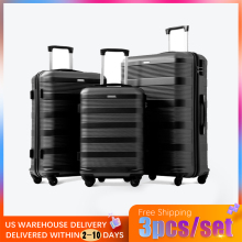 3pcs High quality Hard ABS 20/24/28 inch size Rolling Luggage Spinner Black Travel Suitcase For Bussiness Men/Women
