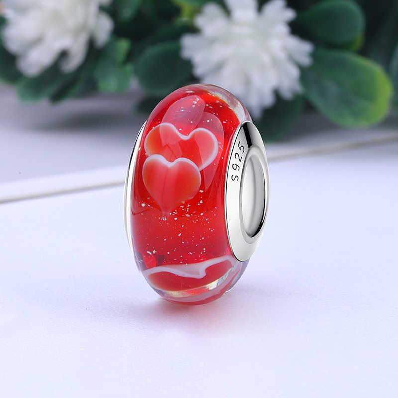 2020 yeni orijinal 100% 925 ayar gümüş cam boncuk ahşap taş Murano çiçek Charms Fit bilezik DIY kadınlar takı