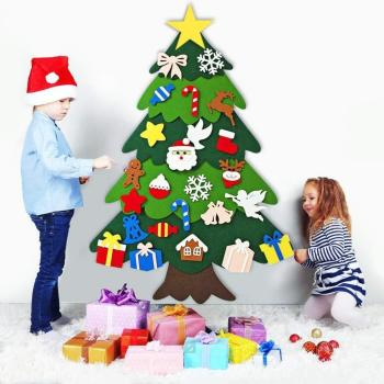 Christmas Tree  DIY Handmade Felt New Year Gifts Kids Toys Artificial Tree Wall Hanging Ornaments Christmas for Home Decoration upside down xams tree decorative hanging ornaments 24 inch artificial inverted christmas tree decorations y