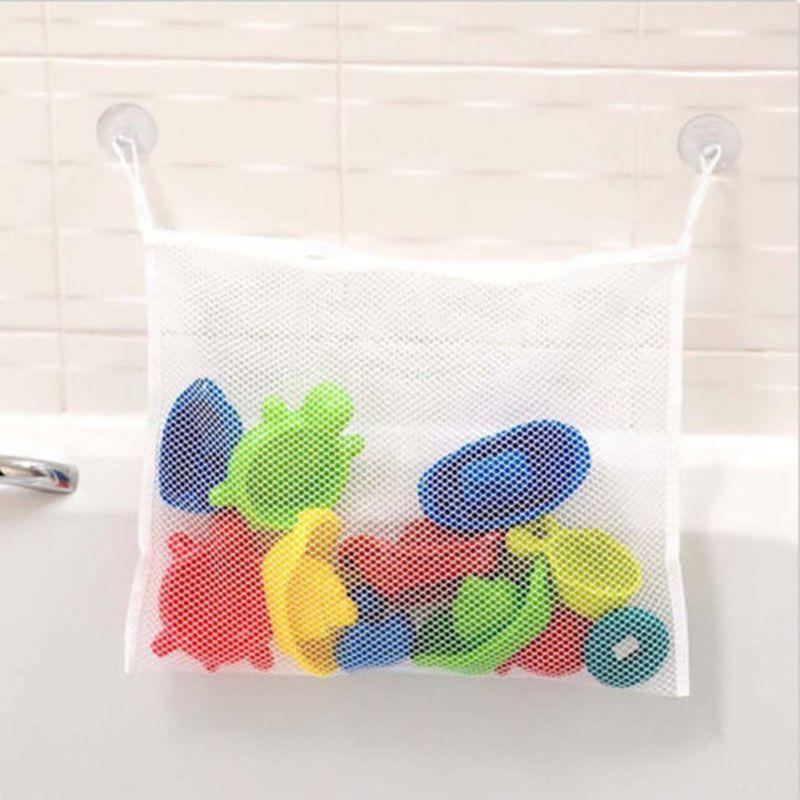 Folding Eco-Friendly Toy Storage Baby Bathroom Mesh Bath Bag Net Suction Cup Baskets