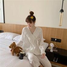 Женские пижамы кружевные хлопковые удобная и повседневная домашняя