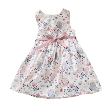 New 1-4Y Baby Girl's Sleeveless Flower Print Dresses Clothes Kids Summer Princess Dress Children Party Ball Pageant Dress Outfit summer girls dresses kids sleeveless love print dresses kids elegant princess dress children party ball pageant dress outfit