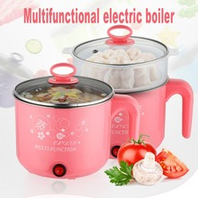 Cute 1.8L 450W Multifunction Electric Cooker Stainless Steel Steamer Hot Pot Noodles Pots Rice Cooker Steamed Eggs Pan Soup Pots multifunction 1 8l electric skillet stainless steel hot pot noodles rice cooker steamed egg soup pot mini heating pan pink eu