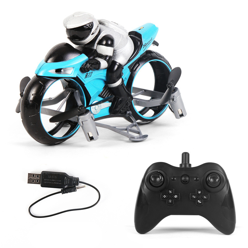 RC Motorcycle 2 In 1 Land Air Flying Motos Drone Toys With 360 Degree Rotation Drift Electric Motorcycle For Children