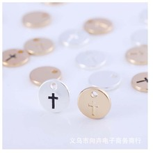 10 pieces/package wholesale round alloy carved cross suspension pendant accessories for ladies Necklace Jewelry