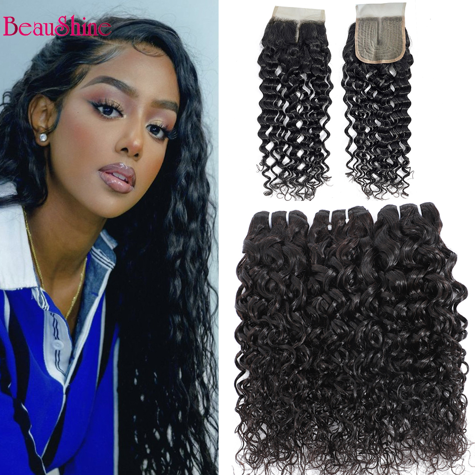 Water Wave Human Hair Bundles With T Part Lace Closure 3 pcs Brazilian Curly Hair Weave With Lace Closure
