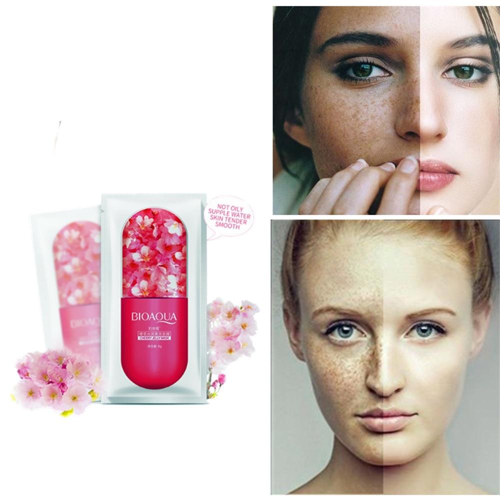 1pcs/8g Vitamin E Oriental Cherry Anti-aging Serum Masks Black Spot Acne Removing Whitening VE Facial Mask Freckle Remover