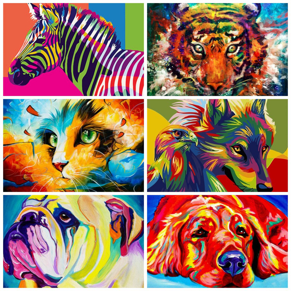AZQSD 50x40cm DIY Oil Painting By Numbers For Adults Animals Paints By Number Canvas Painting Full Kits Home Decor