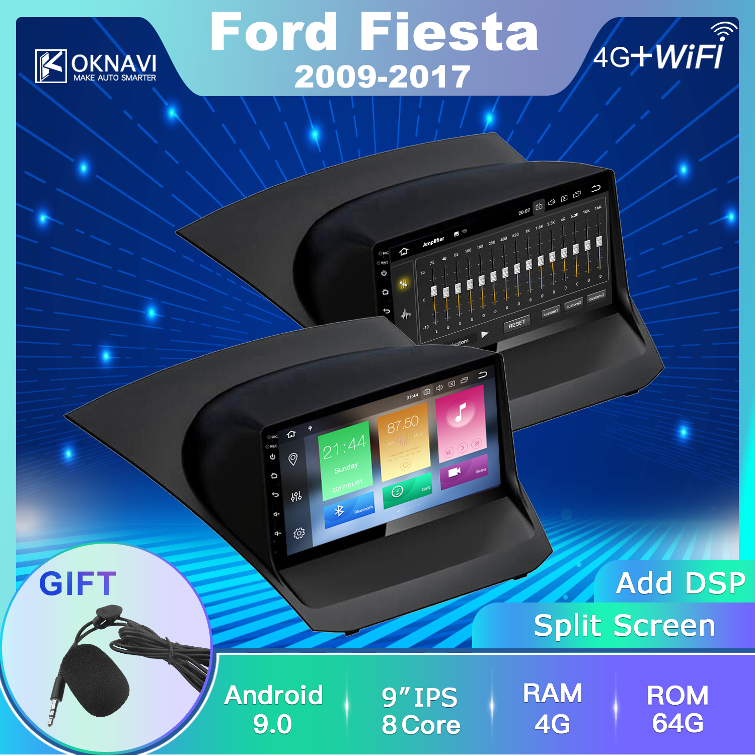 For Ford-f Fiesta 2009-2017 Car Radio Android 9.0 2 Din 9 Inch Multimedia Stereo Navigation GPS Car DVD Player Bluetooth OKNAVI