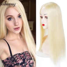 "10""-20"" Blonde Human Hair Topper Wig For Women 12*12 Breathable MONO PU Base With Clip In Hair Toupee Remy Hairpiece(China)"