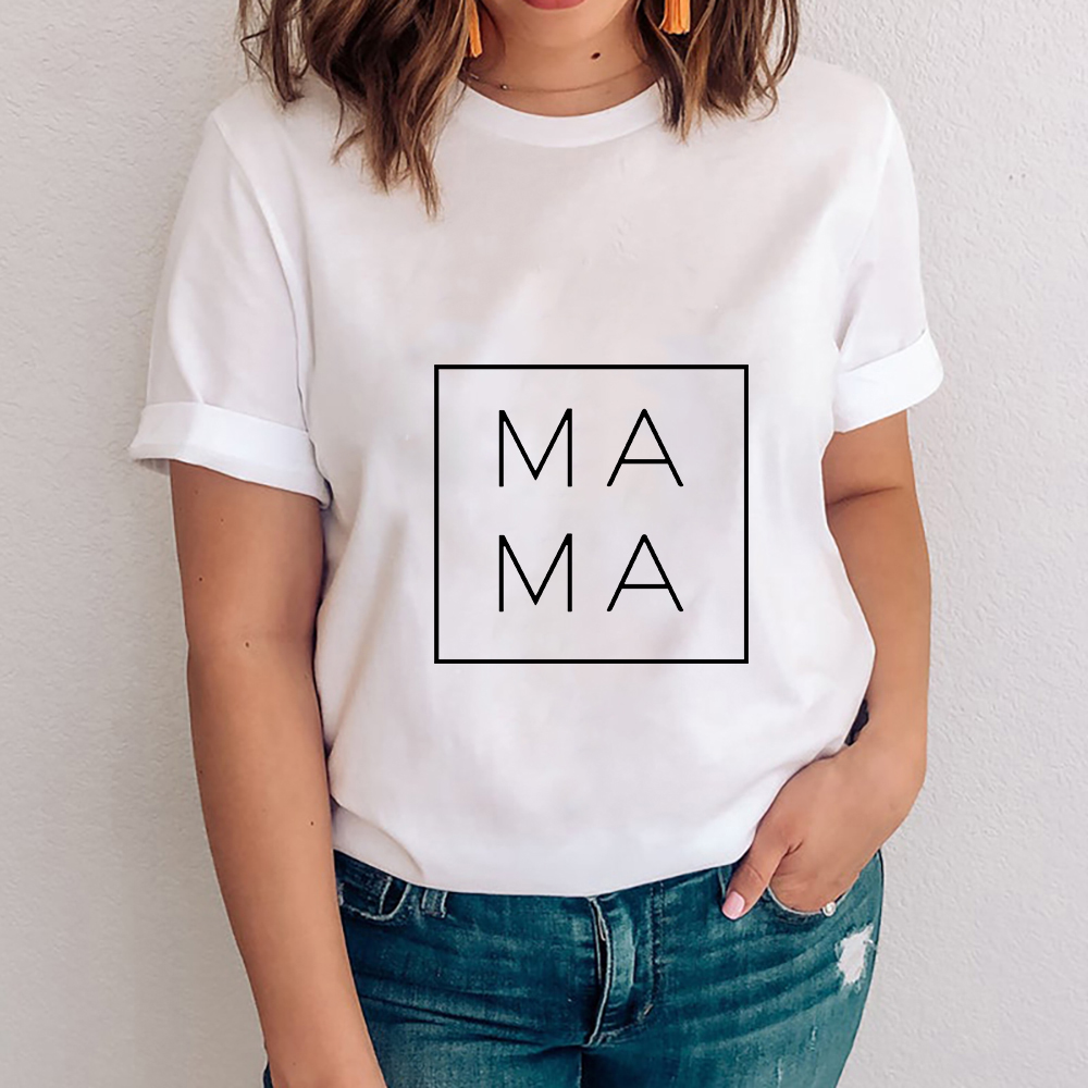 2021 Women Mama Mom Letter Print Mother Clothing Tees Tops Graphic Female Ladies Womens Lady T-ShirtWhite and grey tee