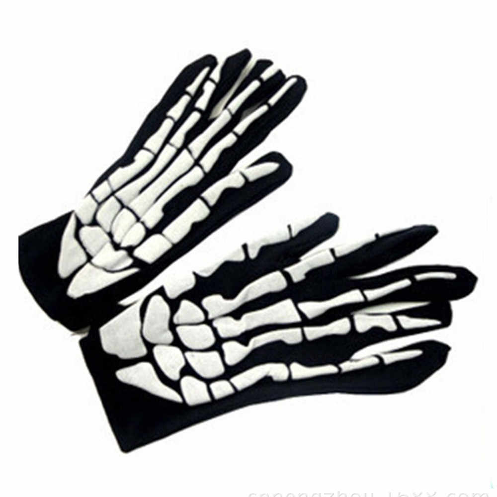 Unisex yetişkin çocuk kış bisiklet tam parmak eldiven cadılar bayramı korku kafatası pençe iskelet Anti-Skid kauçuk açık eldivenler