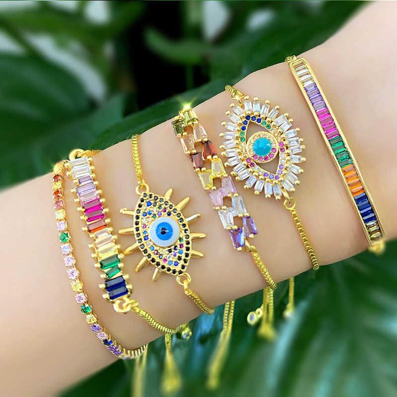 Luksusowe złota bransoletka z cyrkoniami kobiety Rainbow Shell serce złe oko węża regulowane bransoletki dla kobiet moda Armband bransoletka