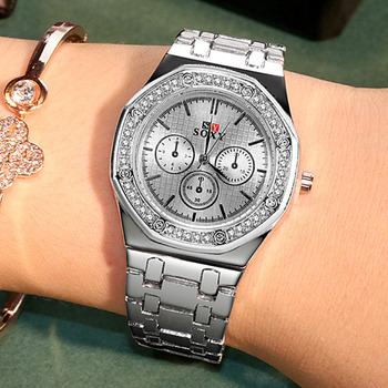 Nowy 2019 kobiet bransoletka zegarek panie Mujer projekt zegarki kwarcowe nowy kryształ luksusowy zegarek na rękę Feminino Relogio seks kol saati tanie i dobre opinie SOXY QUARTZ Nie wodoodporne Hook buckle Sukienka Ze stali nierdzewnej Papier Odporny na wstrząsy Odporne na wodę 34mm