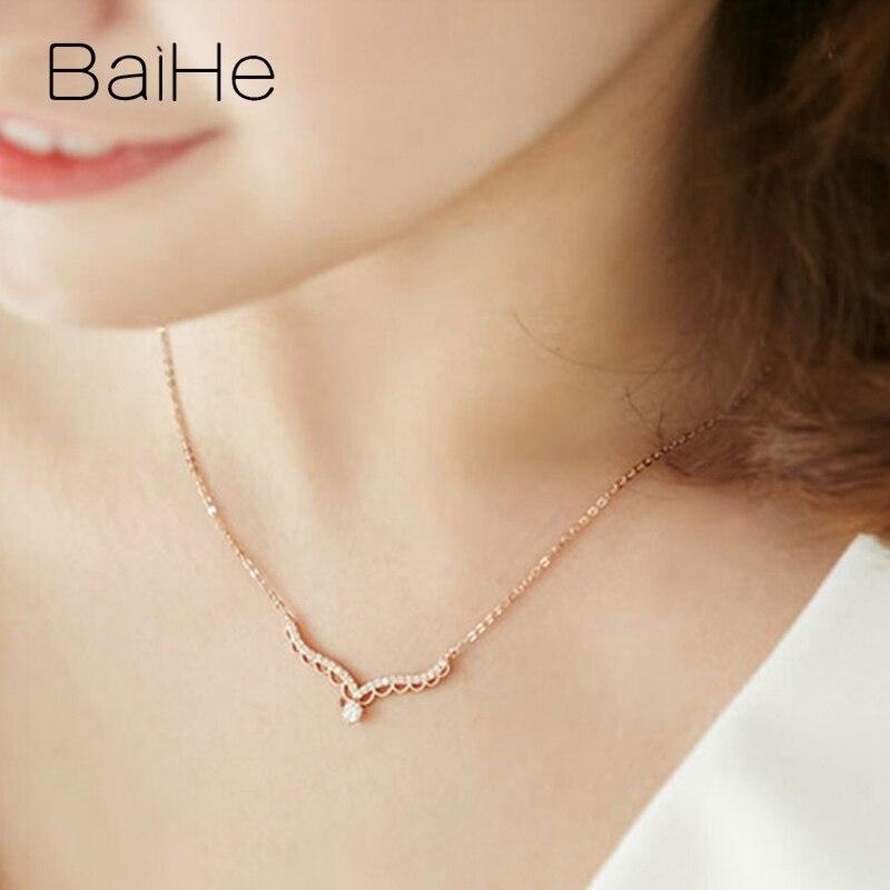BAIHE solide 18K Rose/blanc/or jaune certifié H/SI 0.20ct + 0.15ct diamants naturels femmes bijoux fins colliers cadeaux de mariage - 4