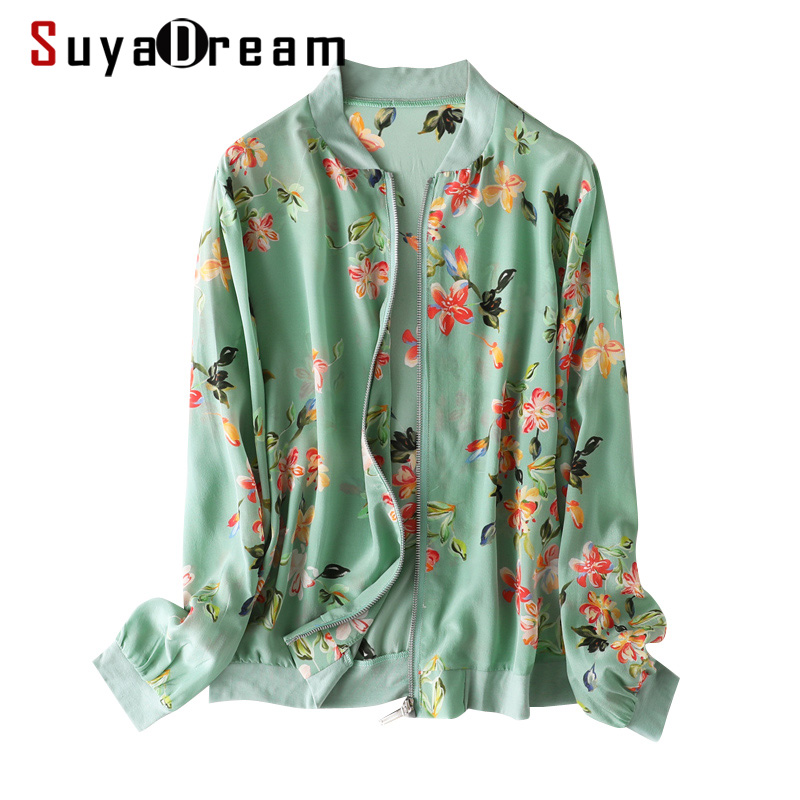 SuyaDream Women Silk Jackets 100%Silk Floral Print Zip-up Sweatshirts 2020 Spring Summer Outwear