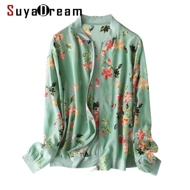 SuyaDream Women Silk Jackets 100%Silk Floral Print Zip-up Sweatshirts 2020 Spring Summer Outwear