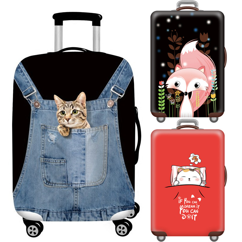 Animal Cartoon Luggage Protection Cover Suitcase Elastic Case Covers 18-32Inch Baggage Trolley Dust Cover Travel Accessories