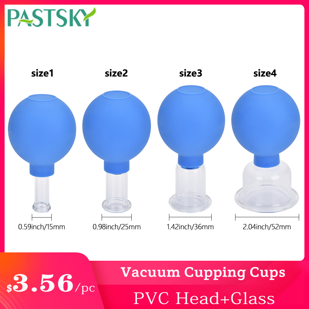 4Pcs/Set Blue Vacuum Cupping Cups PVC Head Glass Suction Body Massage Family Meridian Acupuncture Chinese Medical Therapy Jar