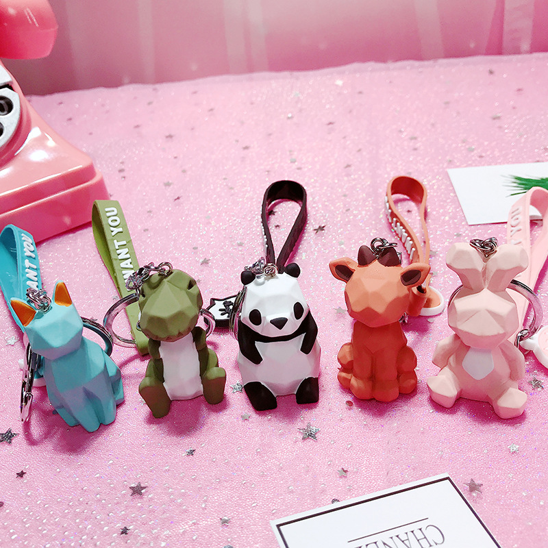 Fashion Cute Dinosaur Keychain Car Key Ring Women Cartoon PVC Animal Panda Key Chain Lanyard Handbag Accessories Trinket