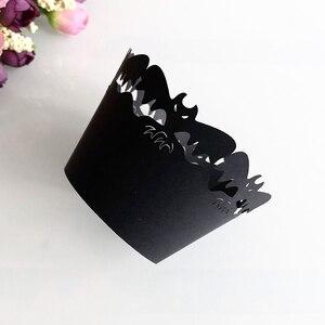 Image 3 - 24 pièces papier demballage de gâteau sorcière creux décoratif Halloween moules à cupcake en papier papier gâteau tasses Muffin tasse Dessert bols fête fournitures