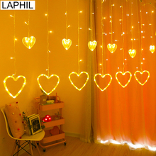 LAPHIL 220V หัวใจ LED แสงโรแมนติกตกแต่งงานแต่งงานฉากหลัง Valentine ของขวัญ Decor วันเกิด Bachelorette PARTY Supplies